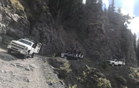 THS 9th and 10th grade students jeep up to Tomboy mine.