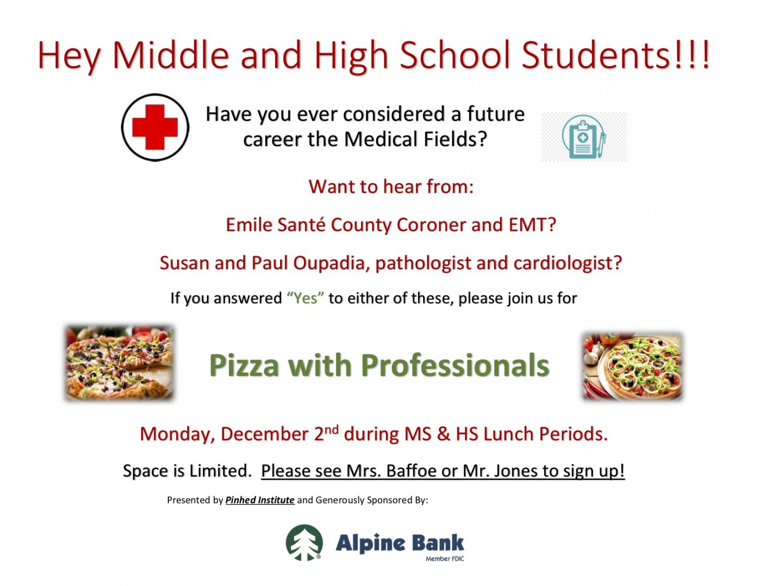 Pizza with Professionals, Monday, Dec. 2