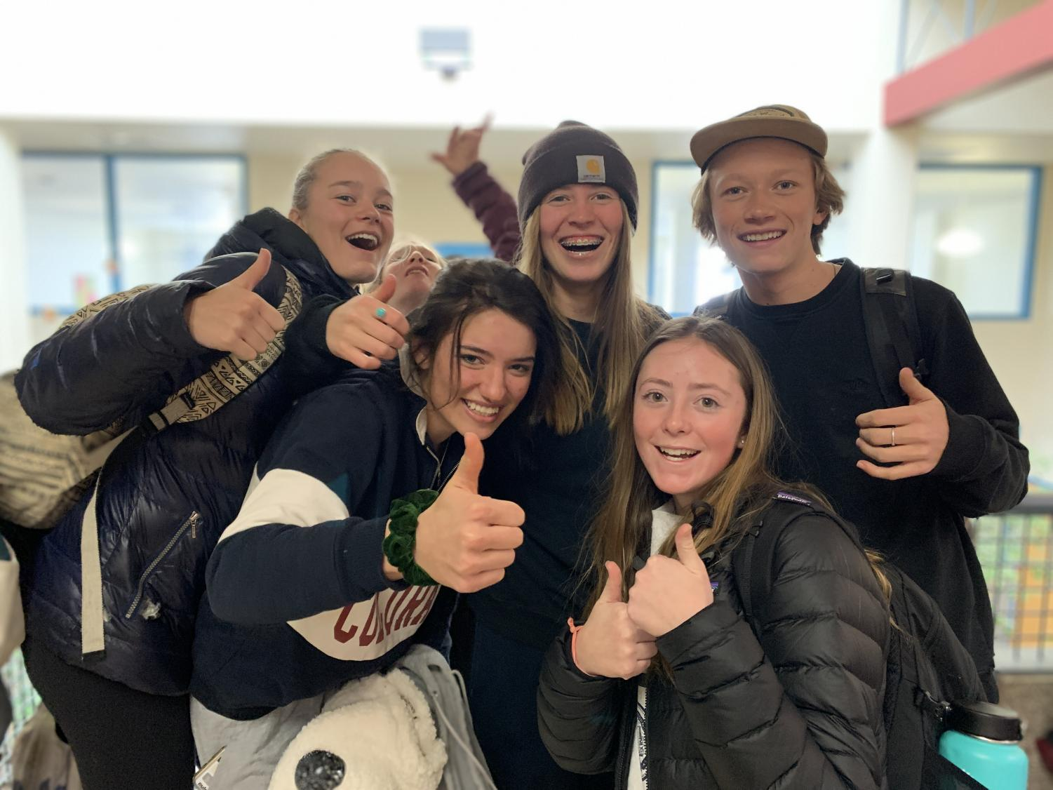 THS sophomores Emery Berry, Ava Hagan, Kaleigh Reggiannini, Tatiana Peccedi and Thorne Harcourt give the new hat allowance a thumbs up.