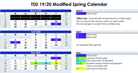 "TSD Modified Spring Calendar, included added ""Miner Days."""